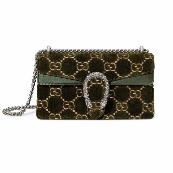 Gucci Handbags - Gucci Small Dionysus Velvet Olive Shoulder Bag NWT